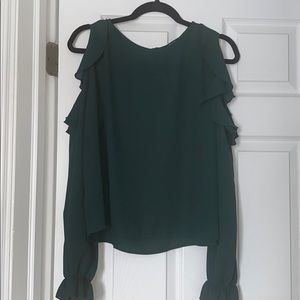 Cold shoulder ruffle long sleeve blouse